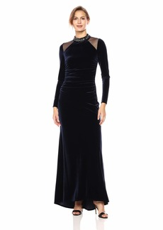 VINCE CAMUTO Women's Velvet Long Sleeve Gown with Beaded Collar