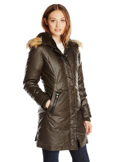 VINCE CAMUTO Women's Waxy Parka with Faux-Fur Trim