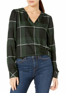 Vince Camuto Women's Windowpane Puff Shoulder Blouse