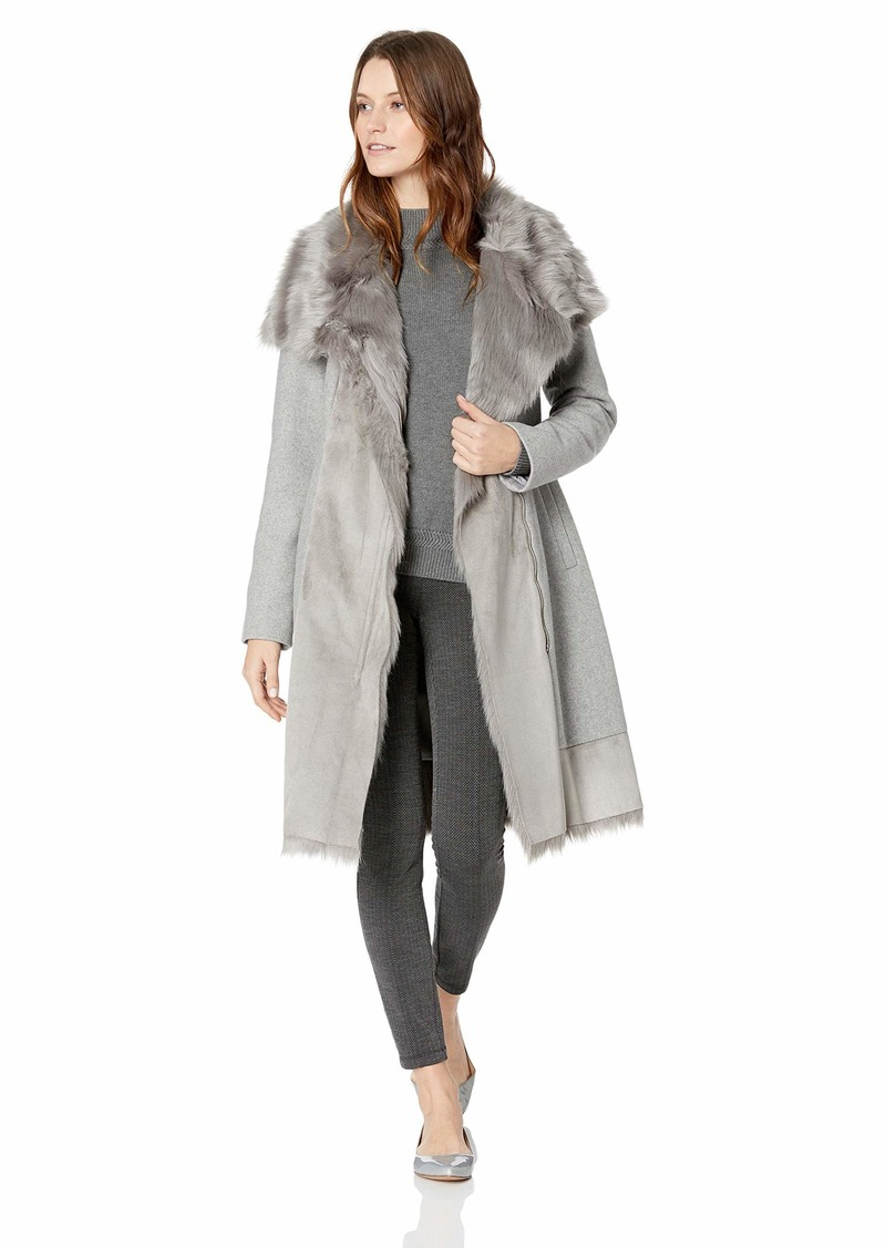 VINCE CAMUTO Women's Wool Coat with Bonded Faux Fur Combo