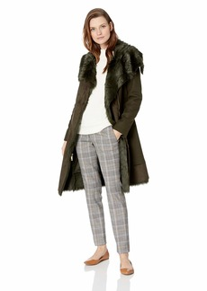 Vince Camuto Women's Wool Coat with Bonded Faux Fur Combo  Extra Large
