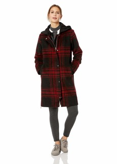 Vince Camuto Women's Wool Coat with Hood red Plaid