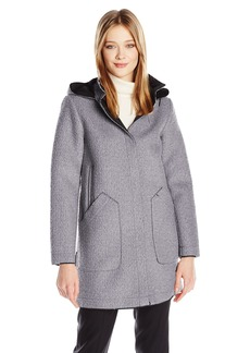 Vince Camuto Women's Wool Hooded Coat With Bonded Neoprene