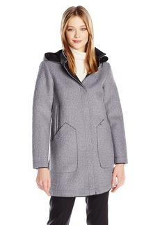Vince Camuto Women's Wool Hooded Coat With Bonded Neoprene