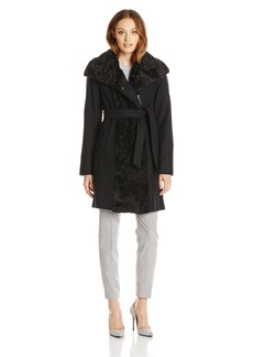 Vince Camuto Women's Wool Wrap Coat with Belt and Zipper  Large