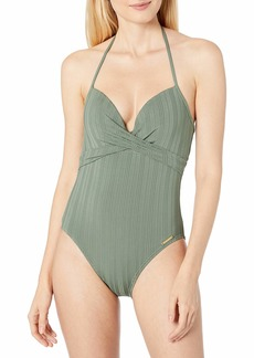 Vince Camuto Women's Wrap Front One Piece Swimsuit with Molded Cups