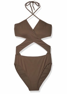 Vince Camuto Women's Wrap one Piece Swimsuit with Removable Soft Cups surf Shades Bonsai
