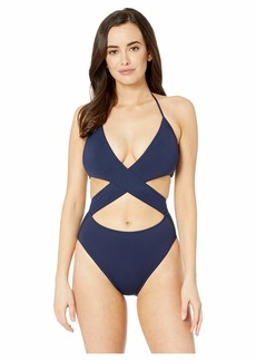 Vince Camuto Women's Wrap one Piece Swimsuit with Removable Soft Cups surf Shades deep sea