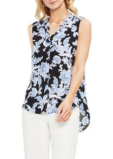 Vince Camuto Woodblock Floral Split Neck Top (Regular & Petite)