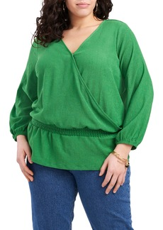 Vince Camuto Wrap Front Long Sleeve Blouse (Plus Size)