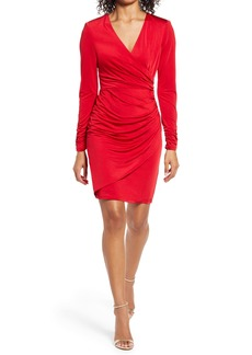 Vince Camuto Wrap Front Long Sleeve Cocktail Dress