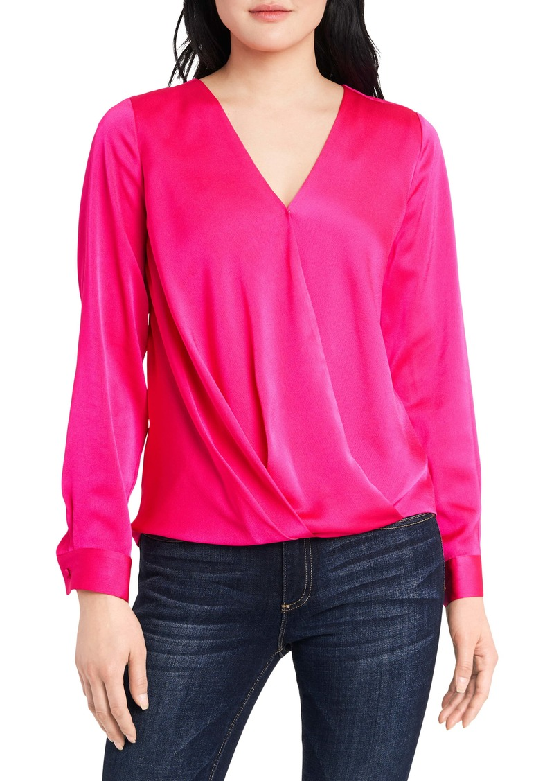 Vince Camuto Wrap Front Long Sleeve Hammer Satin Blouse