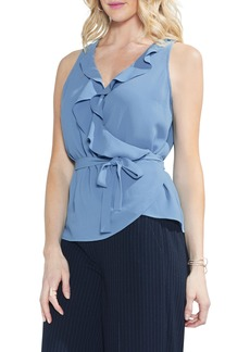 Vince Camuto Wrap Front Ruffle Neck Blouse (Regular & Petite)