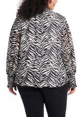 Vince Camuto Zebra Print V-Neck Blouse (Plus Size)