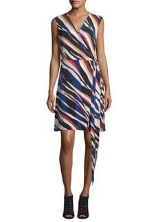 Vince Camuto Zebra-Stripe Belted Wrap Dress