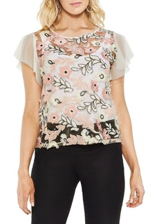Vince Camuto Zen Bloom Floral-Embroidered Blouse