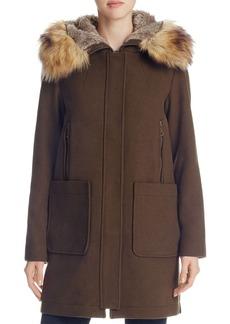 VINCE CAMUTO Zip Front Faux Fur Hood Coat