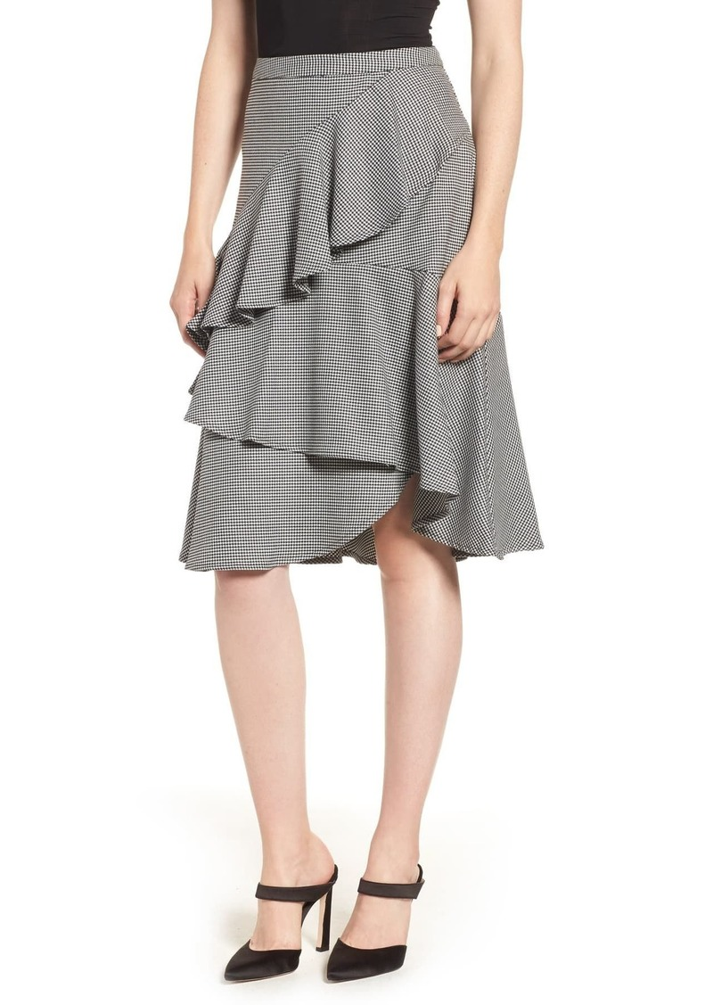 Vince Camuto Vionce Camuto Tiered Ruffle Houndstooth Skirt (Regular & Plus Size)