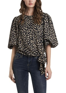 Vince Camuto Women's Animal Reset Print Side Tie Blouse