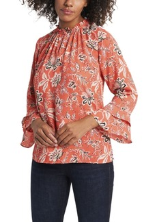 Vince Camuto Women's Antique Floral Ruffle Sleeve Blouse