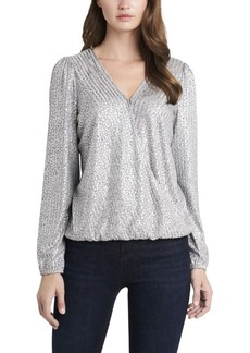 Vince Camuto Women's Fold-over Front Foil Ribbed Jersey Top