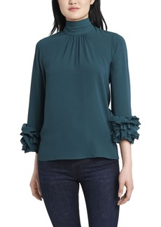 Vince Camuto Women's High Neck Ruffle Sleeve Blouse