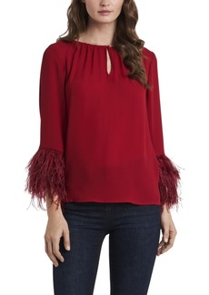 Vince Camuto Women's Keyhole Front Blouse with Feather Sleeve