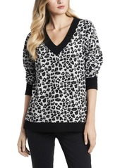 Vince Camuto Women's Leopard Jacquard Long Sleeve Top