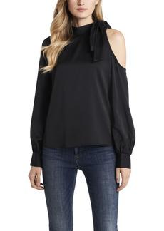 Vince Camuto Women's Long Sleeve Cold Shoulder Tie Neck Blouse
