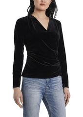 Vince Camuto Women's Long Sleeve Faux Wrap Velvet Top