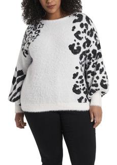 Vince Camuto Women's Plus Jacquard Eyelash Knit Sweater
