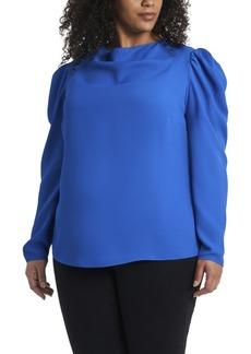 Vince Camuto Women's Plus Long Sleeve Puff Shoulder Blouse
