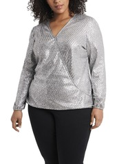 Vince Camuto Women's Plus Size Foldover Front Foil Ribbed Jersey Top