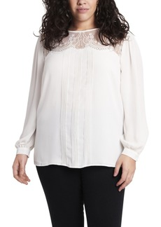 Vince Camuto Women's Plus Size Long Sleeve Lace Yoke Pleated Front Blouse