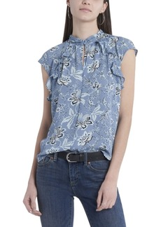 Vince Camuto Women's Sleeveless Ruffle Front Floral Printed Mock Neck Blouse
