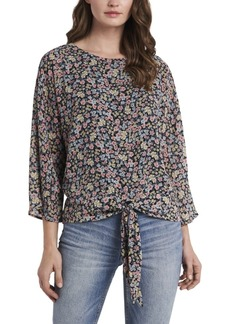 Vince Camuto Women's Sorbet Ditsy Garden Print Tie Front Blouse