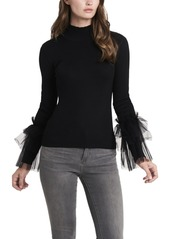 Vince Camuto Women's Tulle Sleeve Top