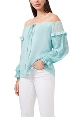 Women's Vince Camuto Off The Shoulder Embroidered Sheer Sleeve Blouse
