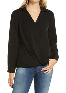 Vince Camuto Wrap Front Rumple Twill Blouse