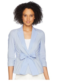 Vince Camuto Yarn-Dyed Wide Stripe Tie Waist Jacket