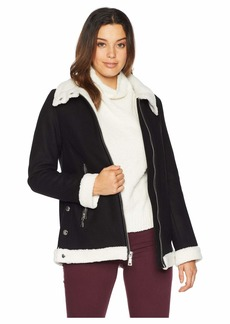 Vince Camuto Zippered Front Wool Short Coat with Sherpa Trim R8351