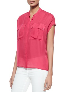Vince Cap-Sleeve Silk Pocket Blouse