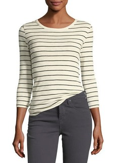 Vince Chalk-Stripe Crewneck 3/4-Sleeve Top