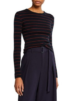Vince Chalk-Stripe Crewneck Long-Sleeve Top