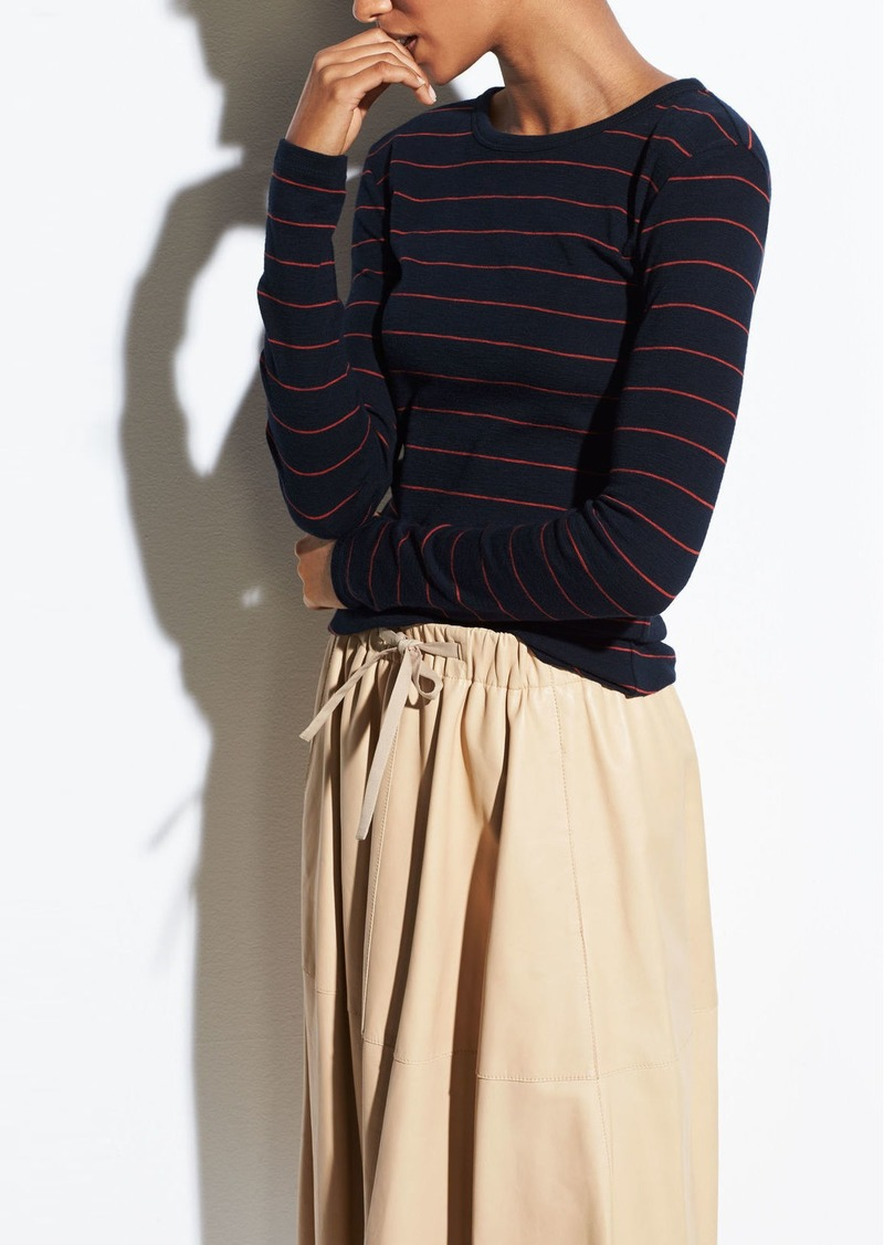 Vince Chalk Stripe Long Sleeve Crew