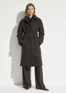 Vince Check Plaid Wool Coat