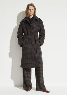 Vince Check Plaid Wool Coat