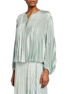Vince Chevron Pleated Blouson-Sleeve Blouse