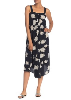 Vince Floral Empire Waist Silk Midi Dress