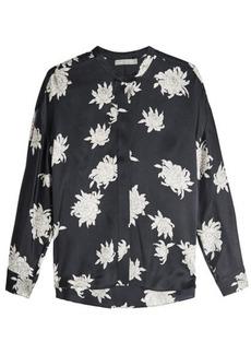 Vince Chrysanthemum Printed Silk Blouse